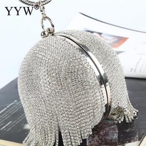 Borse Sliver palla borsa frizione Mini nappe diamanti strass Anello borsa frizioni rotonda sera per le donne 2019 Q1113