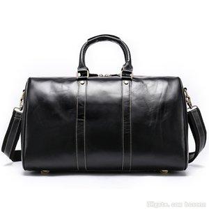 Хорошее качество Натуральная кожаная сумка из известных брендов Винтаж дизайнерские выходные сумки для путешествий несут на багажную сумку (черный кофе)