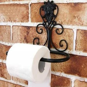 Wrought Iron Bathroom Paper Storage Rack European Retro Wall Hanging Paper Towel Shelf Metal Decor Stand Kitchen Tissue Holder