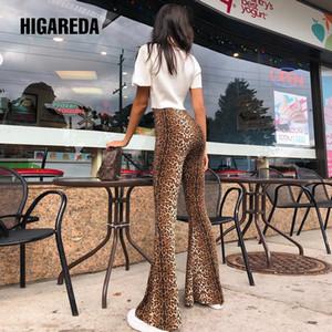 a vita alta leggings stampa leopardo fiammate autunno donne di inverno dei pantaloni fascianti del club Higareda moda sexy