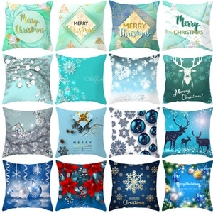 series Christmas Blue pillow cover 2020 new peach skin cushion cover digital printing bedside cushion cover