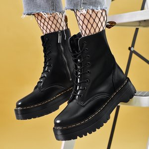 Platform Martens Boots Women Shoes New Black Leather Ankle Boots Women Punk Shoes Thick Bottom Motorcycle Boots De Mujer 201102