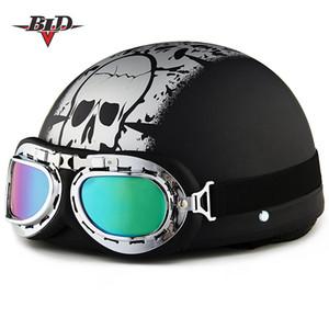 2020 New Adult Motorcycle Helmet Open Face Half Leather Motocross Helmets Moto DOT Helm vintage Scooter Motocicleta Motorbike