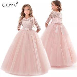 Kids Girls Wedding Flower Girl Dress Long Sleeve Elegant Princess Party Pageant Formal Dress Tulle Lace Dress 201020