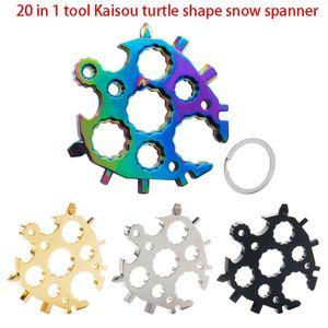 20 in 1 attrezzo Bottle Opener Tartaruga Forma Chiave Portachiavi esterna apri Snowflake multi funzione Spanne chiave esagonale IIA758