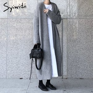 syiwidii nuevos rebeca de las mujeres elegantes damas sueltos de punto de canalé suéteres de gran tamaño forma la capa larga 2020 otoño y el invierno Q1113