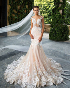 Milla Nova Designer Mermaid Wedding Dresses Illusion Neck Capped Full Lace Appliqued Backless Bridal Dresses Custom Made DH4007