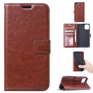 Coque téléphonique en cuir de portefeuille pour iPhone12 11Pro max xr 7 8 plus Cover Crazy Horse pour Samsung S20