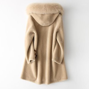 Fur Hooded Real Fur Coat Autumn Winter Coat Women Clothes 2020 Korean Vintage 100% Wool Jacket Sheep Shearling ZT33191
