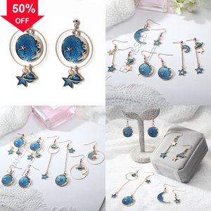 Hiphop Gold Plated Earrings For moon Men pure Saturn earring Zirconia Hip Hop stars s925 Bling sier Cubic Ear Studs Gem Design Brand Silver