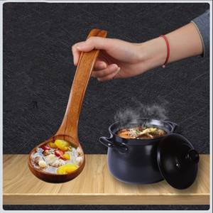 Natural Solid Wood Spoon Kitchen Soup Serving Wooden Long Handle Tableware Wood Utensilios de Cocina Cooking Kitchen Tool