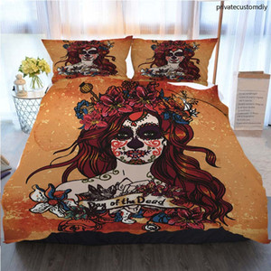 Designer Bedding Sets Designer Bed Comforter Sets Girl With Sugar Skull Polyester Duvet Cover Luxury Bedding Sets