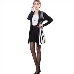 Large size womens Autumn knitted cardigan Sweater shawl Large size women Striped Long style Cardigan sweaters coat Female
