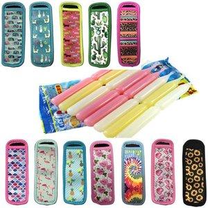 Antifreezing Neoprene Freezer Popsicle Holder Reusable Ice Pop Sleeves Bag Floral Sunflower Flamingo Unicorn Printing DHC2551