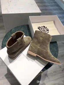 Kadınlar Gerçek Deri Isabel Crisi Süet Bilek Boots Marant Crisi Boots Gizli Kama Ayakkabı Batı esinli