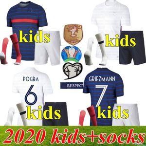 2020 2021 2 stars France soccer jersey MBAPPE GRIEZMANN KANTE POGBA Maillot de foot EURO 20 21 Kids kits set football shirts Uniform