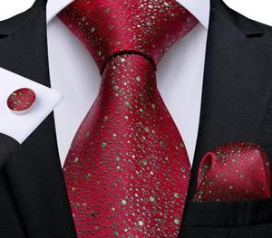 Luxury Silk Woven Men's Ties 8cm Green Splash Dot Red Necktie Hanky Cufflinks Set Business Wedding Accessories Mens Gift44