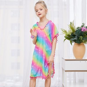 Fioday Summer Girls Cover-ups Swimsuit Wraps Beach Dress Top with Pompom Tassel Chlid Beach Casual Swimsuits Beachwear Wholesale Y200708
