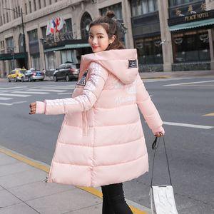 Moda de algodão acolchoado jaqueta com capuz quente casaco de Inverno Mulheres Parkas Longo Fino Grosso FANMUER 201019