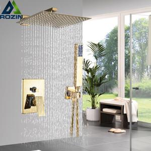 "Rozin Golden Shower Set 8 10 12"" Square Rainfall Shower Faucet Wall Mount Bathroom Faucet Concealed shower Mixer Set Bathtub Tap 1011"