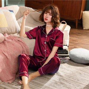 Risvolto delle donne a maniche corte pantaloni più fertilizzanti per aumentare la simulazione della Seta Home Service Pajamas Set