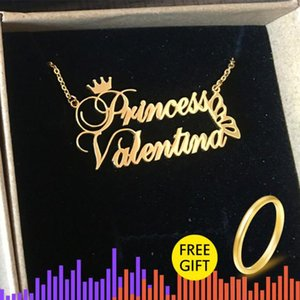 2019 Couple Necklaces Stainless Steel Rose Gold Personalized Custom Corwn Butterfly With Name Necklace Friendship Gifts Bff Y200810