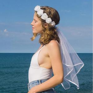 2021 Bohemian Brautschleier mit Kopfbedeckungen Handgemachte 3D Floral zwei Schichten Land Strand-Braut-Schleier Hochzeit Acc Kopfbedeckung