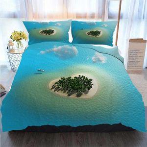 3D Impresso Feliz Natal Bedding Set Heart Shaped Tropical Island edredon cobrir Edredons Designer Cama Sets