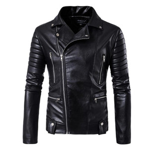 New Men Fashion Skull Leather Coats Male Bomber Jacket Brand Jacket Punk Multi Design Style Motorcycle Biker Leather 5XL