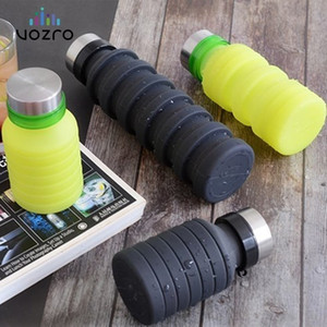 VOZRO 550ml Fold Run Bodybuilding Camping Portable Gel Cup Outdoor Sport Water Bottle My Drink . Botellas Stainless Steel Cover LJ200821