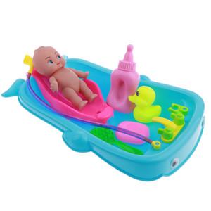 Conjunto de Bebé Adulto Rol Los juegos de simulación del juego de la muñeca de juguete de baño en agua de la bañera del Desarrollo Preescolar regalos / Muñeca w