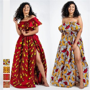 2020 Новости Анкара Стиль Африканская Одежда Дашики Печать Топ Юбки Мода Перо Партия Африканские Платья для Женщин Оград Африкан LJ200826