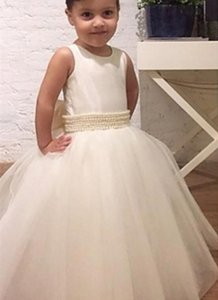 White Girls Pageant Baby Children Party Dress Birthday Christmas Kids Formal Wear Beaded O-Neck Pearls Flower Girls Dresses