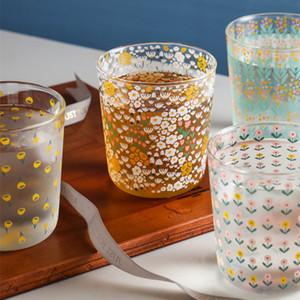 Crystal Coffee Glass Cup Heat-resistant Milk Juice Tea Cup Drinkware Print Home Wedding Glasses flower print FDA