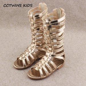 CCTWINS KIDS 2020 Shoe joelho Bebé de Verão Alta Gladiator Sandal Kid Moda suave Plano Crianças Gold Beach Criança BG063