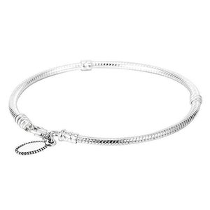 Bangle Original Lobster 925 Claw Clasp Snake Fit Chain Basic Sterling Silver Bead Charm Bracelet Diy Europe Jewelry