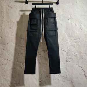 20ss Owen Seak Erkekler Yağ mumu Denim Jeans Klasik Gotik Erkekler Kaplanmış Yaz Düz Hip Hop Kadınlar Katı Kot Pantolon Beden XL