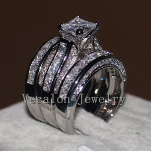 Vecalon Fine Jewelry Princess cut 20ct 5A Zircon cz Wedding Band Ring Set for Women 14KT White Gold Filled Finger ring