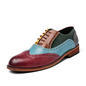 spring Hot sales mens shoes men dress shoes Color stitching stylist mens designer shoes Sculpture men luxury loafers 433