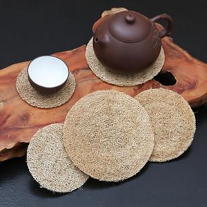 ماتس كأس الألياف LOOFAH ل Kungfu Placemat مناشف مصنوعة يدويا القرع المصنوعة يدويا مع اكسسوارات وسادة إبريق الشاي الروطان