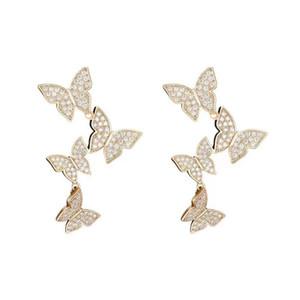 S925 Silver Needle 2020 New Super Fairy Sweet Butterfly Tassel Retro Fashion Joker Temperament Diamond-encrusted High-grade Earrings.