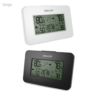 Fashion Weather Station Clock Indoor Outdoor Temperature Humidity Display Wireless Weather Forecast Alarm Snooze Blue Backlight DBC BH4158
