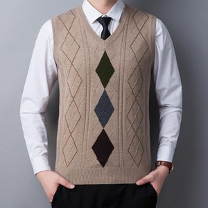 Newest Dress Vests for Men Solid Color Sleeveless Men's Vest Wool Casual Slim-fit Knitted Plaid Business Vest