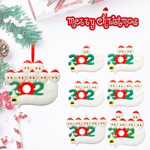 Árbol de cuarentena personalizado Adornos superviviente de la familia de 234567 Mascarillas mano Sanitized Customiz Decoración de Navidad 300pcs T1I2494