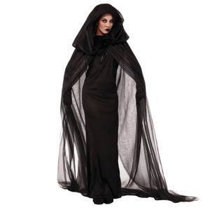Umorden Halloween Purim Carnival Black Gothic Witch Costume The Haunted Sorceress Costumes for Women Adult Kids