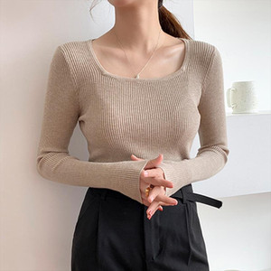 Womens Knitting Full Sleeve Square Collar Sweater Women Pullovers Casual Simple Knitted Jumpers Woman 2020 Autumn Winter Sweater