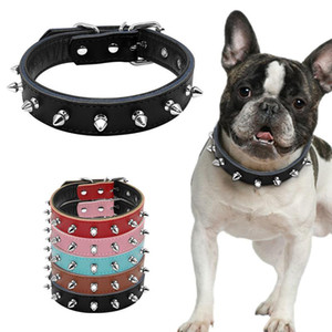 Spiked Studded Padded Dog Collar PU Leather Puppy Collars Adjustable Pitbull dog Neck Strap pet collar For Small Medium Dogs