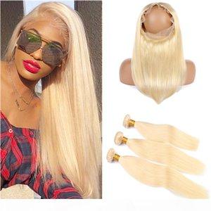 """Sarışın Saç Paketler ve 360 Kapanış # 613 Bleach Blonde Düz Brezilyalı İnsan saç örgüleri 360 Dantel Frontal 22.5x4x2"""" Ön koparılan ile"""
