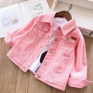 2020 spring girls denim jackets coats baby jeans outfit white pink kids clothing children outerwear casual boutiques 0930