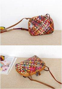 새로운 가죽 손으로 짠 가방 컬러 스트라이프 민족 쉘 숙녀 작은 어둠의 수제 대비 색깔의 핸드백 크기
